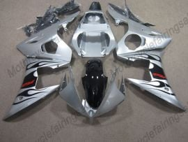 Yamaha YZF-R6 2003-2004 Injection ABS Fairing - Black Flame - Silver