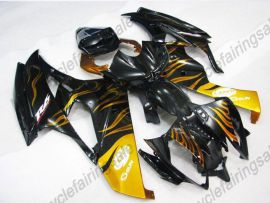 Yamaha YZF-R6 2006-2007 Injection ABS Fairing - Yellow Flame - Black