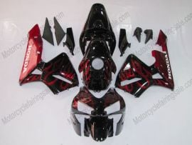 Honda CBR 600RR F5 2003-2004 Injection ABS Fairing - Black Flame  - Red