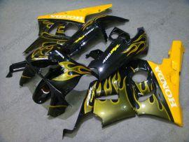 Honda CBR400RR NC29 1990-1998 ABS Fairing - Yellow Flame - Black