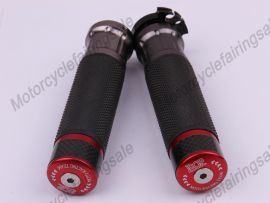 """Motorcycle Universal 22mm 7/8"""" Couple Handle bar Grips Red Carbon Fabric Material"""