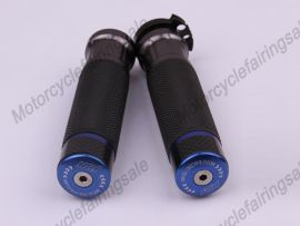 """Motorcycle Universal 22mm 7/8"""" Couple Handle bar Grips Blue Carbon Fabric Material"""