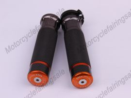 """Motorcycle Universal 22mm 7/8"""" Couple Handle bar Grips Orange Carbon Fabric Material"""