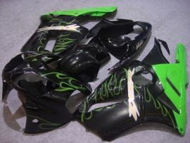 Kawasaki NINJA ZX12R 2002-2005 ABS Fairing - Green Flame - Black
