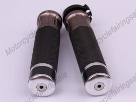 """Motorcycle Universal 22mm 7/8"""" Couple Handle bar Grips Silver Carbon Fabric Material"""