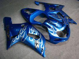 Suzuki GSX-R 1000 2000-2002 K1 K2 Injection ABS Fairing - White Flame - Blue