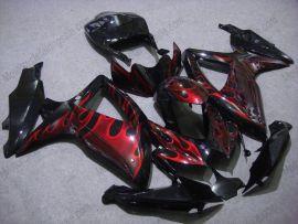 Suzuki GSX-R 600/750 2008-2010 K8 Injection ABS Fairing - Red Flame - Black
