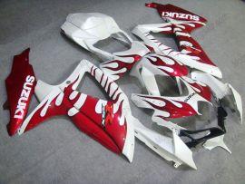Suzuki GSX-R 600/750 2008-2010 K8 Injection ABS Fairing - Red Flame - White