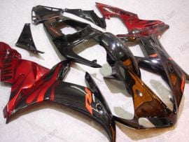 Yamaha YZF-R1 2002-2003 Injection ABS Fairing - Black Flame - Black/Red
