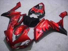 Yamaha YZF-R1 2007-2008 Injection ABS Fairing - Black Flame - Red