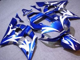 Yamaha YZF-R6 1998-2002 Injection ABS Fairing - White Flame - Blue