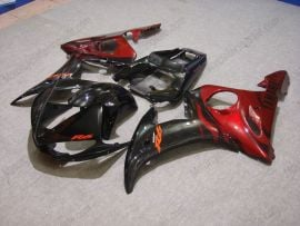 Yamaha YZF-R6 2003-2004 Injection ABS Fairing - Black Flame - Black/Red