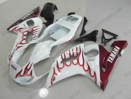 Yamaha YZF-R6 1998-2002 Injection ABS Fairing - Flame - White/maroon