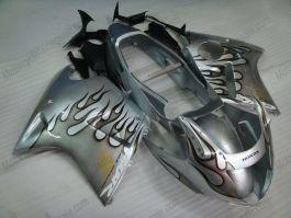 Honda CBR 1100XX BLACKBIRD 1996-2007 Injection ABS Fairing - Black Flame - Silver