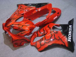 Honda CBR600 F4i 2004-2007 Injection ABS Fairing - Black Flame - Red